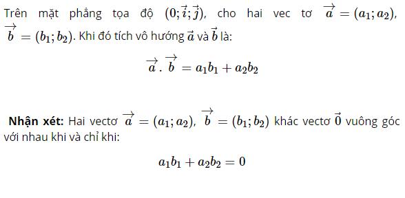 biểu thức tọa độ của tích vô hướng